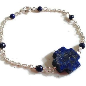 Lapis Bracelet – Navy Blue Jewelry – Celtic Cross – Sterling Silver Jewellery – Lapis Lazuli Gemstone – Chain