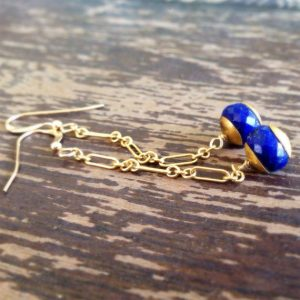 Shop Lapis Lazuli Earrings! Lapis Earrings – Gold Jewellery – Navy Blue Gemstone Jewelry – Lapis Lazuli – Chain | Natural genuine Lapis Lazuli earrings. Buy crystal jewelry, handmade handcrafted artisan jewelry for women.  Unique handmade gift ideas. #jewelry #beadedearrings #beadedjewelry #gift #shopping #handmadejewelry #fashion #style #product #earrings #affiliate #ad