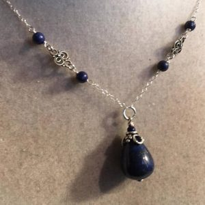 Shop Lapis Lazuli Necklaces! Lapis Necklace – Navy Blue Necklace – Sterling Silver Jewellery – Lapis Lazuli Pendant – Gemstone Jewelry | Natural genuine Lapis Lazuli necklaces. Buy crystal jewelry, handmade handcrafted artisan jewelry for women.  Unique handmade gift ideas. #jewelry #beadednecklaces #beadedjewelry #gift #shopping #handmadejewelry #fashion #style #product #necklaces #affiliate #ad