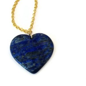 Navy Blue Necklace – Lapis Heart Pendant – Yellow Gold Jewelry – Lapis Lazuli Gemstone Jewellery – Long Chain – Denim N-tbm