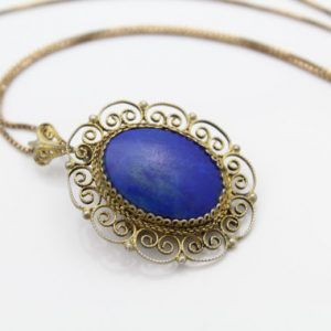 "Vintage Gold On 800 Silver Oval Lapis Cabochon Filigree Pendant Necklace 18"". [7562]"