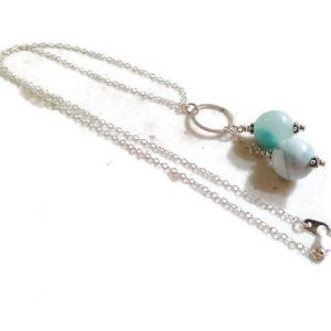 Larimar Necklace – Sterling Silver Jewelry – Gemstone Jewellery – Blue Pendant – Fashion – Chain