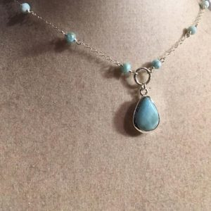 Shop Larimar Necklaces! Larimar Necklace – Blue Pendant – Sterling Silver Jewelry – Gemstone Jewellery – Fashion – Chain | Natural genuine Larimar necklaces. Buy crystal jewelry, handmade handcrafted artisan jewelry for women.  Unique handmade gift ideas. #jewelry #beadednecklaces #beadedjewelry #gift #shopping #handmadejewelry #fashion #style #product #necklaces #affiliate #ad
