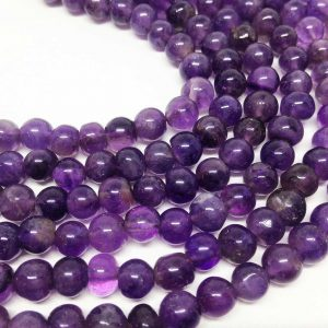 "Lot Of 5 Strands 6mm Amethyst Beads, Wholesale Beads, Natural Beads, Semi Precious Stones, 15 1/2"" Length, Round Beads, Wholesale Gems"