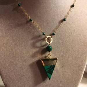 Malachite Necklace – Green And Black Pendant Jewellery –  Long Gold Chain Jewelry – Gemstone – Triangle – Spike