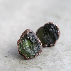 Moldavite Earrings – Sterling Silver Posts – Green Crystal Stud Earrings – Electroformed Raw Crystals | Natural genuine Gemstone earrings. Buy crystal jewelry, handmade handcrafted artisan jewelry for women.  Unique handmade gift ideas. #jewelry #beadedearrings #beadedjewelry #gift #shopping #handmadejewelry #fashion #style #product #earrings #affiliate #ad