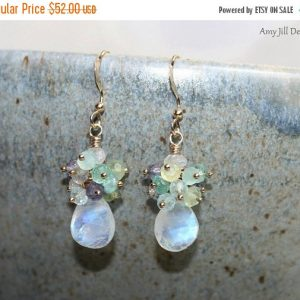 Rainbow Moonstone Earrings, Cluster Earrings, Blue Flash, Moonstone Jewelry, Gold Filled, Gemstone Earrings | Natural genuine Gemstone jewelry. Buy crystal jewelry, handmade handcrafted artisan jewelry for women.  Unique handmade gift ideas. #jewelry #beadedjewelry #beadedjewelry #gift #shopping #handmadejewelry #fashion #style #product #jewelry #affiliate #ad