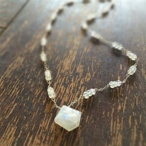 Moonstone Necklace – Rainbow Moonstone – Geometric – Sterling Silver – Iridescent – Gemstone