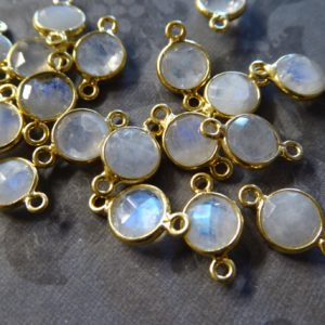 Shop Moonstone Round Beads! MOONSTONE Gemstone Connector Link Pendant / 24k Gold Plated or Sterling Silver Bezel Rim / 7 mm dainty round, gcl2.G | Natural genuine round Moonstone beads for beading and jewelry making.  #jewelry #beads #beadedjewelry #diyjewelry #jewelrymaking #beadstore #beading #affiliate #ad