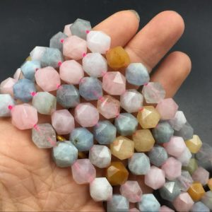 "10mm Faceted Morganite Beads Multicolor Morganite Stone Beads Cube Beads Hexagon Beads Gemstone Semiprecious Beads 15.5"" Strand 