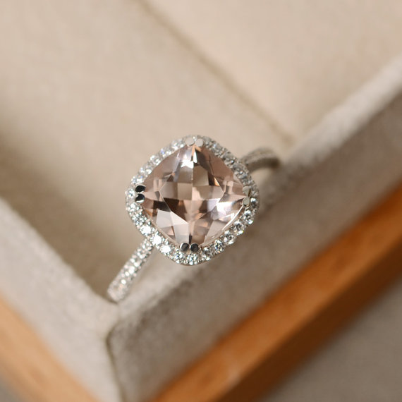 Morganite Engagement Ring, Cushion Cut, Pink Morganite, Wedding Ring, Natural Morganite