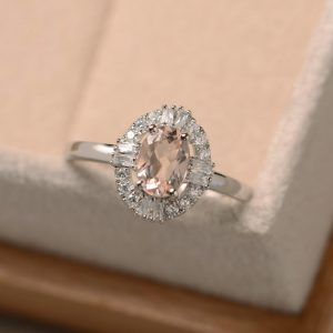 Morganite Engagement Ring, Oval Cut Morganite, Sterling Silver, Pink Gemstone