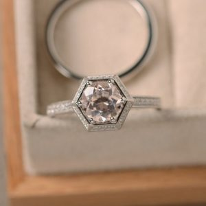 Shop Morganite Engagement Rings! Morganite engagement ring, pink morganite, hexagon ring, | Natural genuine Morganite rings, simple unique alternative gemstone engagement rings. #rings #jewelry #bridal #wedding #jewelryaccessories #engagementrings #weddingideas #affiliate #ad