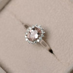 Natural morganite ring, pink gemstone, sterling silver, engagement ring, promise ring for her | Natural genuine Array jewelry. Buy handcrafted artisan wedding jewelry.  Unique handmade bridal jewelry gift ideas. #jewelry #beadedjewelry #gift #crystaljewelry #shopping #handmadejewelry #wedding #bridal #jewelry #affiliate #ad