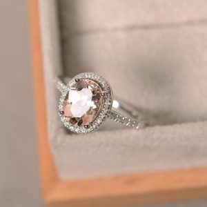 Shop Morganite Jewelry! Natural morganite ring, sterling silver, pink gemstone morganite, halo ring, engagement ring | Natural genuine Morganite jewelry. Buy handcrafted artisan wedding jewelry.  Unique handmade bridal jewelry gift ideas. #jewelry #beadedjewelry #gift #crystaljewelry #shopping #handmadejewelry #wedding #bridal #jewelry #affiliate #ad