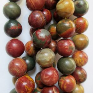 """Natural Picasso Jasper Beads – Round 6 Mm Gemstone Beads – Full Strand 16"""", 63 Beads, A-quality"""