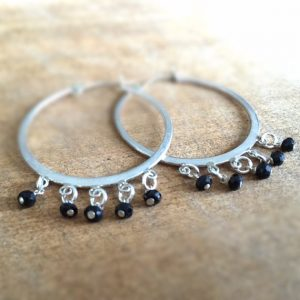 Black Onyx Earrings – Hoop – Sterling Silver Jewelry – Natural Gemstone Jewellery