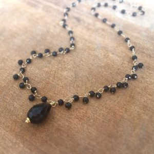 Black Onyx Necklace – Gemstone Jewelry – Gold Jewellery – Tear Drop Pendant – Wire Wrapped – Luxe – Statement
