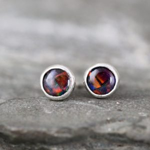 Black Mosaic Opal Earrings – Bezel Set Stud Pierced Earring – Sterling Silver Earrings – Made In Canada – Colorful Opal – October Birthstone
