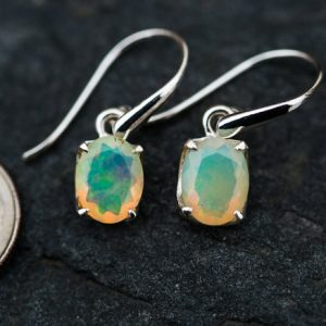 Opal Dangle Earrings – Natural Opal Earrings – Opal And Sterling Silver October Birthstone – Opal Earrings – Opal Dangle Earrings – Natural