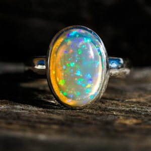 Opal Ring Size 8.5 – Engagement Ring Alternative – Opal Ring – Glittery Firey Opal -opal Silver Ring – Ring Size 8.5 – October Birthstone