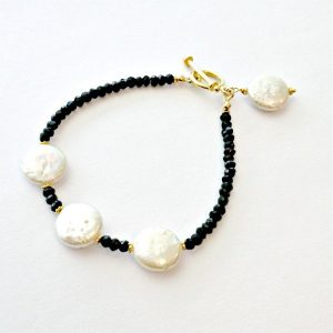 Black White Bracelet – Pearl Spinel Gemstone Jewellery – Gold Jewelry – Luxe  B-178