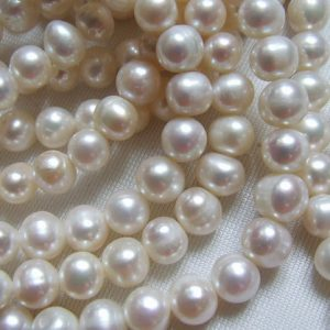 Shop Pearl Beads! Shop Sale.. 1/2 Strand, Fresh Water Pearls, Round to Off Round WHITE Pearls, Cultured, 4-5 mm, June birthstone brides bridal rw .pearl 45 | Natural genuine beads Pearl beads for beading and jewelry making.  #jewelry #beads #beadedjewelry #diyjewelry #jewelrymaking #beadstore #beading #affiliate #ad
