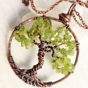 Tree Of Life Necklace, Peridot Tree Pendant, Copper Wire Wrapped Tree Of Life, Yellowish Green Gemstone Talisman Necklace, August Birthstone