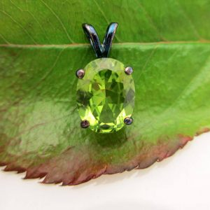 Black Silver Peridot Pendant | Rainbow Patina Sterling Silver | Oval Pendant, 9 X 7mm Genuine Peridot Gemstone | Green | Ooak