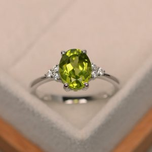 Peridot Ring, Engagement Ring, Natural Peridot, Oval Cut Peridot Ring, Green Gemstone Ring