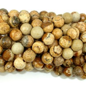 Picture Jasper Beads, 6mm Faceted Round Beads, 15.5 Inch, Full strand, Approx 61 beads, Hole 1 mm, A quality (345025002)