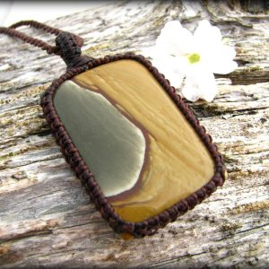 Polygram Jasper Necklace / Wild Horse Jasper  / Pendant / Natural Stone / Healing Jewelry / Bold / Hippie Chic / Macrame / For Him / Gift
