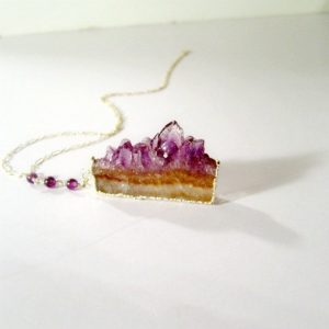 Purple Amethyst Gemstone Pendant – Druzy Necklace – February Birthstone Jewelry – Sterling Silver Chain – Drusy – Geode – Slice N-122