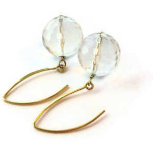 Clear Crystal Quartz Earrings – Yellow Gold Jewellery – Gemstone Jewelry – Dangle – Bride Bridesmaid Wedding  Er-138