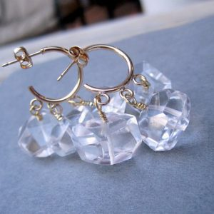 Quartz Earrings – Gold Filled Hoops – Clear Crystal Jewellery – Fine Jewelry – Luxe – Couture – Chunky – Wedding | Natural genuine Gemstone earrings. Buy handcrafted artisan wedding jewelry.  Unique handmade bridal jewelry gift ideas. #jewelry #beadedearrings #gift #crystaljewelry #shopping #handmadejewelry #wedding #bridal #earrings #affiliate #ad