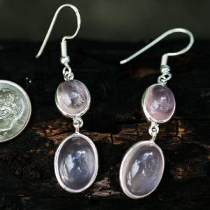 Rose Quartz Cabochon Earrings – Rose Quartz Earrings – Sterling Sliver Rose Quartz Earrings – Rose Quartz Dangles Earrings – Rose Quartz