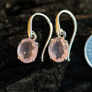 Shop Rose Quartz Earrings! Rose Quartz Earrings – Rose Quartz Dangle Cut Earrings – Sterling Sliver Rose Quartz Earrings – Rose Quartz Dangles Earrings – Rose | Natural genuine Rose Quartz earrings. Buy crystal jewelry, handmade handcrafted artisan jewelry for women.  Unique handmade gift ideas. #jewelry #beadedearrings #beadedjewelry #gift #shopping #handmadejewelry #fashion #style #product #earrings #affiliate #ad