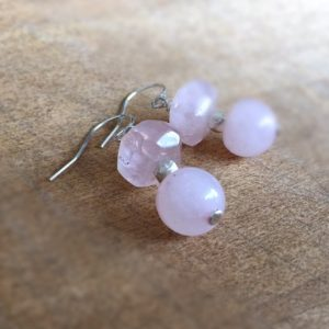 Shop Rose Quartz Earrings! Rose Quartz Earrings – Pink Jewelry – Sterling Silver Jewellery – Dangle – Mod – Fashion – Gemstone | Natural genuine gemstone jewelry in modern, chic, boho, elegant styles. Buy crystal handmade handcrafted artisan art jewelry & accessories. #jewelry #beaded #beadedjewelry #product #gifts #shopping #style #fashion #product