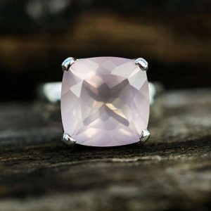 Rose Quartz Ring Size 6-9 – Rose Quartz Ring – Square Cut Rose Quartz Ring – Rose Quartz Ring – Sterling Silver Rose Quartz Ring Sizes 6-9