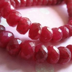 RUBY Rondelles Beads, Luxe AAA, 5-50 pcs, 4-5 mm, True Red, faceted / July birthstone, love brides bridal valentines weddings tr r 45 | Natural genuine faceted Ruby beads for beading and jewelry making.  #jewelry #beads #beadedjewelry #diyjewelry #jewelrymaking #beadstore #beading #affiliate #ad