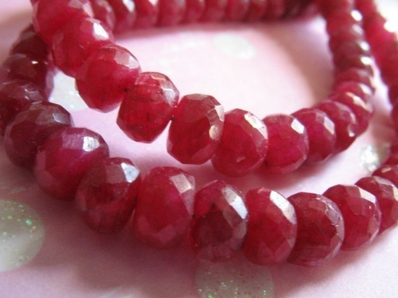 Ruby Rondelles Beads, Luxe Aaa, 5-50 Pcs, 4-5 Mm, True Red, Faceted / July Birthstone, Love Brides Bridal Valentines Weddings Tr R 45