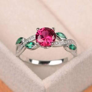 Ruby ring, leaf ring, round ruby engagement ring, sterling silver ring, red gemstone | Natural genuine Array jewelry. Buy handcrafted artisan wedding jewelry.  Unique handmade bridal jewelry gift ideas. #jewelry #beadedjewelry #gift #crystaljewelry #shopping #handmadejewelry #wedding #bridal #jewelry #affiliate #ad