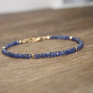 Sale Blue Sapphire Bracelet, Sapphire Jewelry, September Birthstone, Something Blue, Gemstone Bracelet, Gold Filled Or Sterling Silver Beads
