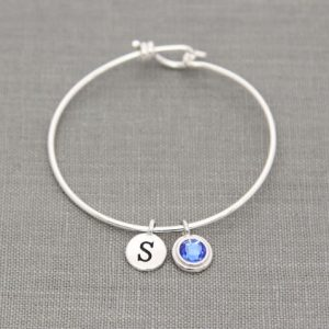Grandma Bracelet Initial, New Mother Bracelet, Personalized Birthstone Bracelet, Grandmother, Mommy Jewelry, Mothers Day Gift, Sapphire