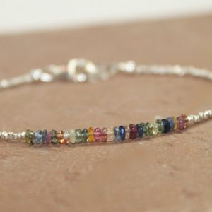 Multi Sapphire Bracelet, Hill Tribe Beads, Sapphire Jewelry, Pure Silver, September Birthstone, Gemstone Bracelet