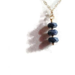 Blue Sapphire Necklace – Gold Jewelry – Navy Blue Gemstone Jewellery – Chain – Pendant – September Birthstone