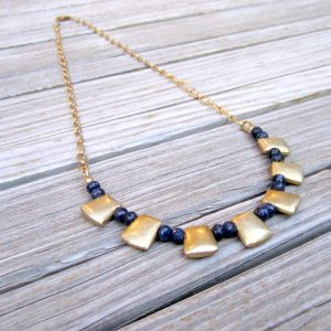 Sapphire Necklace – Navy Blue Jewelry – September Birthstone Jewellery – Brushed Gold – Gemstone – Anniversary – Bead Bar – Chain N-113