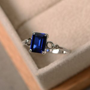 Blue Sapphire Ring, Lab Sapphire, September Birthstone, Solitaire Ring
