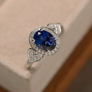 Sapphire Engagement Ring, Blue Sapphire, Oval Cut Sapphire, September Birthstone
