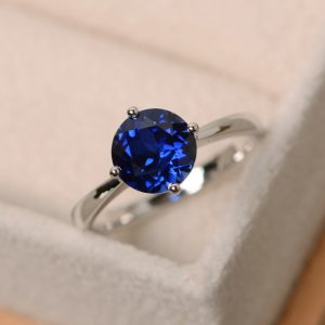 Sapphire Ring, Solitaire Ring, Brilliant Rings, Sterling Silver, Blue Sapphire Ring, Gemstone Ring Sapphire